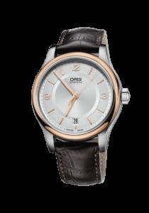 Oris Classic Date, 01 733 7578 4331-07 5 18 10, Edelstahl, Lederband, braun
