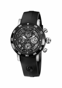 Chronoswiss, Timemaster Chronograph Skeleton 9043, Edelstahl DLC, Kautschukband, schwarz