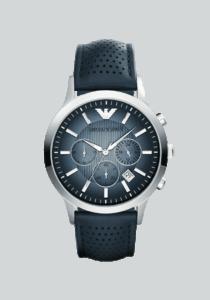 Emporio Armani Uhr, AR2473, Edelstahl, Lederband, blau