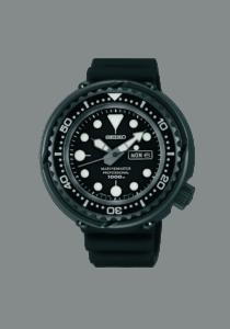 Seiko Prospex Marine Master Tuna 1000, Edelstahl, Kautschuk, schwarz